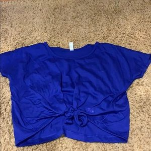 under armor blue tie t-shirt (workout) (woman's)